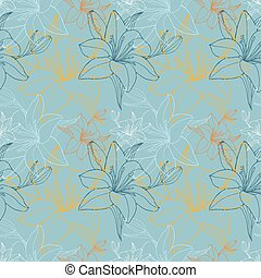 Lily in blue color scheme, seamless pattern
