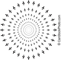 Lily In Concentric Circle Traditional Ornament Vector