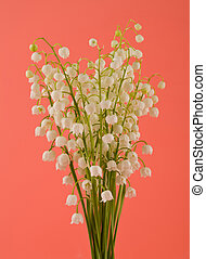 Lily of the valley flowers on a pink background