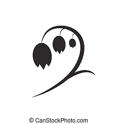 Lily of the valley icon. - Silhouette of lily of the valley...