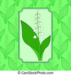 Lily of the valley illustration - Seamless pattern and icon...