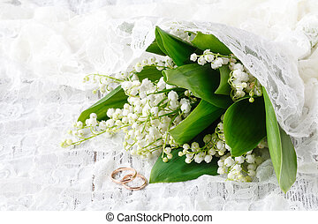 Lily of the valley on vintage background