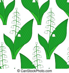 Lily of the valley pattern.eps - Seamless pattern of the...