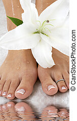 lily - beautiful female feet with madonna lily in spa