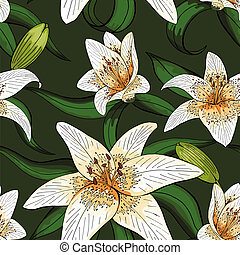 Lily tiger type on green leaves nature pattern seamless