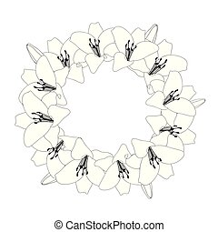 Lily Wreath Outline