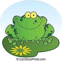 lilypad, grenouille, heureux