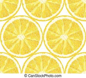 limão, cítrico, padrão, slices., seamless, vetorial, fundo