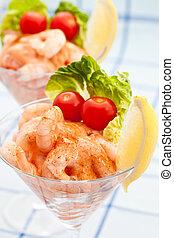 limão, coquetel, camarão grande, aperitivo, pequeno, tomates...