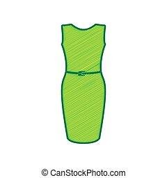 limão, illustration., rabisco, isolado, sinal, experiência., vector., vestido branco, ícone
