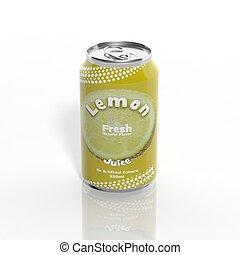 limão, isolado, lata, soda, branca, 3d