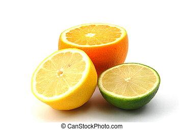 limão, laranja, e, citron, fruta