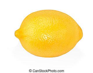 limão, maduro, isolado, fundo amarelo, branca