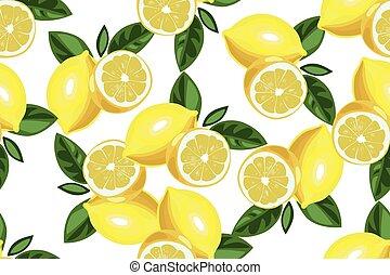 limão, padrão, seamless, mão, experiência., vetorial, desenhado, branca, agradável