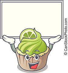 limão, personagem, cima, cupcake, tábua, caricatura