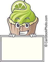 limão, personagem, cupcake, sorrindo, tábua, caricatura