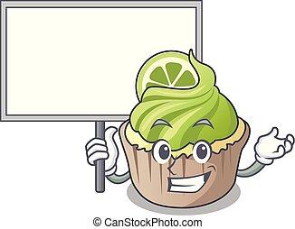 limão, personagem, cupcake, trazer, tábua, caricatura