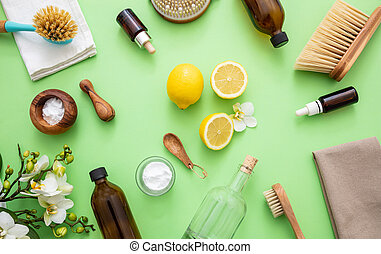 limão, produtos, eco, limpeza, fundo, soda, vinagre