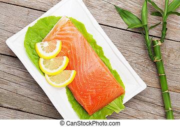 limão, salada, peixe, salmão, fresco, folhas