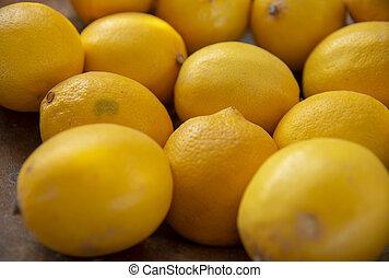 limão, side., frutas, foco., seletivo, lado, amarela, experiência., empilhado