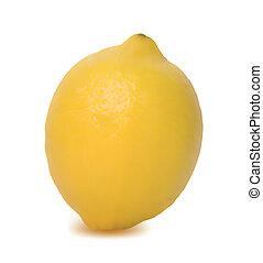 limón, aislado, amarillo, fondo., vector, blanco