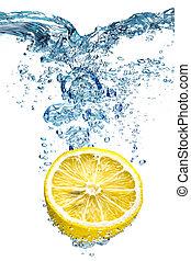 limón, bajas, deeply, agua