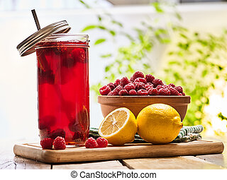 limón, cóctel, bebida, hielo, vidrio, frío, frambuesa