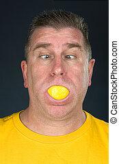 limón, chupar, hombre
