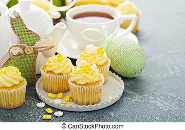 limón, cupcakes, pascua