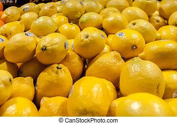 limón, en la exhibición, en, mercado de productos de granja