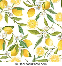 limón, flores, vector, fondo., floral, hojas, seamless, fruits, limones, pattern.