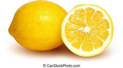 limón, fresco, rebanada