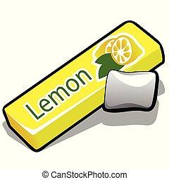 limón, illustration., vector, fondo., limpieza, goma, dientes, aislado, primer plano, blanco, mascar, caricatura, eating., después, sabor