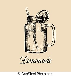 limón, isolated., albañil, paja, tarro, suave, illustration., drink., limonada, vector, bosquejo, rebanada, hecho, mano, dibujado, hogar
