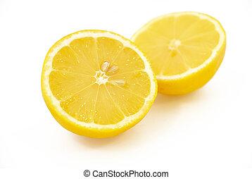 limón, mitades, dos
