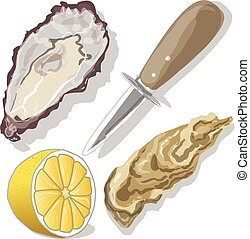 limón, ostras, shucked