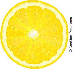 limón, segmento, jugo