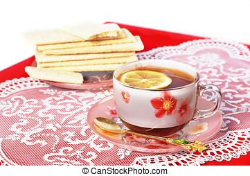 limón, taza, té, tela, negro, rojo