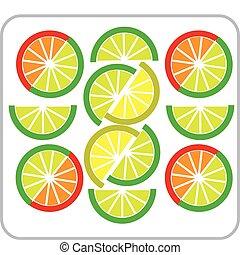 limón, toronja, cortar, plantilla, -2, naranja, cal