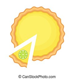 limón, vector, aislado, pastel, cima, ilustración, rebanada...