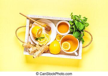 limón, verde, honey., té