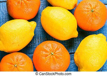 limões, tangerines, coloridos, cítrico, -, fundo, frutas