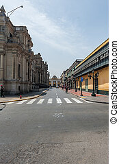 LIMA, PERU - APRIL 15, 2013: Empty Street in Lima, Peru. Palace on the righ