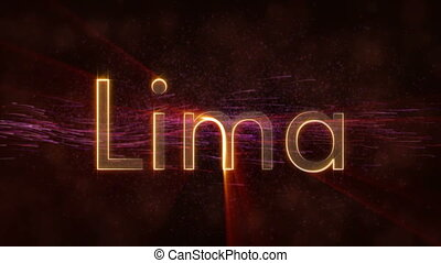 Lima - Shiny looping city name in Peru, text animation -...