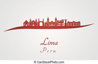 Lima skyline in red