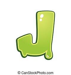 limaccioso, font, tipo, lettera, j