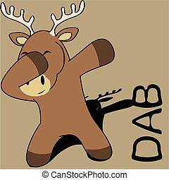 limanda, dabbing, atteggiarsi, cervo, cartone animato, capretto