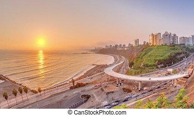 lima's, littoral, lima, vue, timelapse, aérien, voisinage, coucher soleil, miraflores, pérou