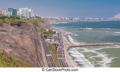 lima's, littoral, lima, vue, timelapse, aérien, voisinage, miraflores, pérou