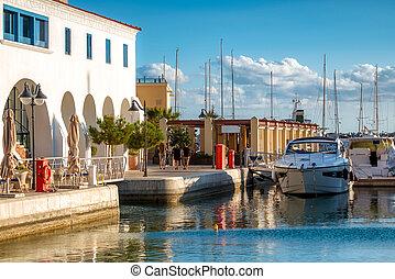 Limassol Marina seafront promenade. Cyprus